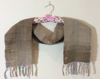 Hand Woven Alpaca and Cotton Short Scarf 'Pebble'