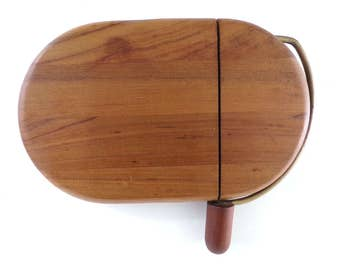 Vintage Mid Century Rounded Cutting Board & Cheese Slicer