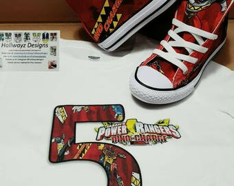 Rare Power Ranger Converse, boy birthday shoes, dino charge cotton fabric material, power rangers sneakers, birthday shirt sold separately