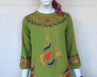 Vintage embroidered Indian Kaftan dress//India 70's Boho Cotton Caftan//Bohemian Hippie Festival Maxi Dress Caftan