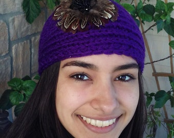 New Crochet Headband with Feather Flower, Ear Warmer
