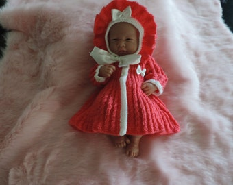 new baby girls handmade jacket/bonnet  pink with white contrast  age 0 to 3 mths