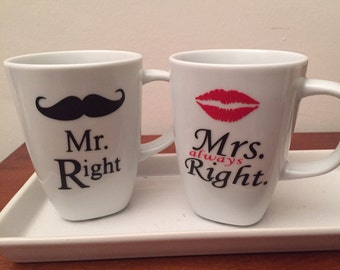 Couple mugs Idea Christmas gift Mr right Mrs always right