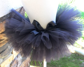 Black Tutu, Black Cat Tutu, Black Bow, Newborn Black Tutu, Girl Tutu, Toddler Tutu, Black Birthday Tutu, Halloween Tutu