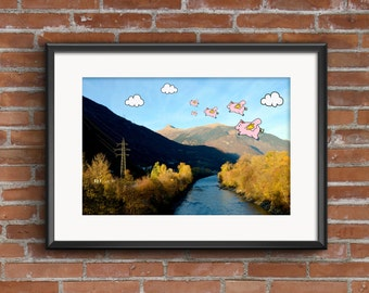A3 Cute Flying Pigs Illustration Print, funny humorous art, landscape photograph, unique nature poster, kids nursery fun