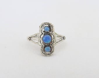 Vintage Sterling Silver Blue Opal Filigree Ring Size 8