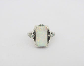 Vintage Sterling Silver White Opal Ring Size 9