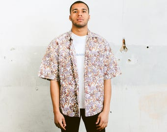 Patterned Summer Top . Vintage Mens Vacation Shirt Abstract Print Botanical Shirt 90s Summer Top Indie Mens Fashion . size XL Extra Large