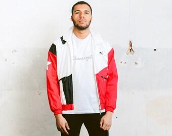 Puma Shell Jacket . Vintage Mens Wind Jacket Retro 90s Shell Jacket Spring Jacket Windbreaker Red Sports Jacket Outerwear . size Medium M