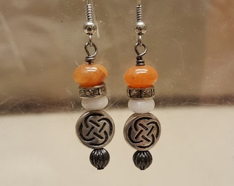 Celtic Round Knot Stone Bead earrings