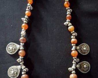 Morocco - Beautiful silver necklace made with carnelian, silver, and shell beads