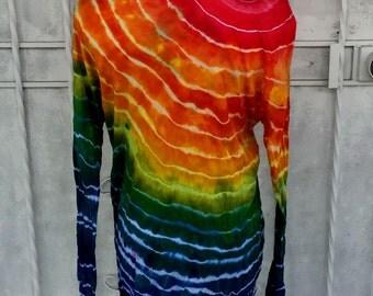 SMALL Rainbow Stripe Geode Ice Dye Tunic | Long-sleeved Tunic Top | Ice Dye Top |  | Lounge Top | Cotton Modal | Rainbow Tunic Top