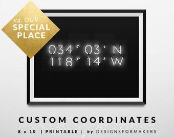 Custom Latitude Longitude Coordinates - Custom Print - Coordinates Printable - Industrial Design - Neon Lights - Monochrome Decor - Wall 21