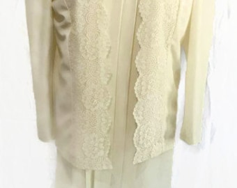 Beautiful Vintage Cream Dress With Jacket Lace Dress Mother of the Bride 80's Dress Any Occasion Dress
