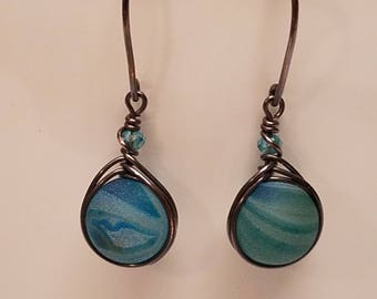 Blue Druzy Herringbone Earrings