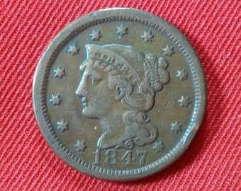 Vintage Large Cent 1847 Braided Hair Large One Cent Copper Penny
