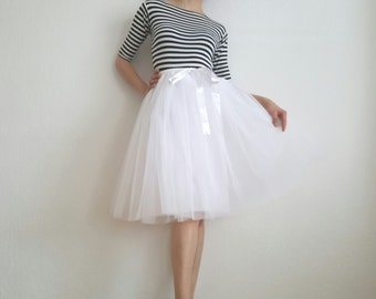 Tulle skirt petticoat light version white 60 cm