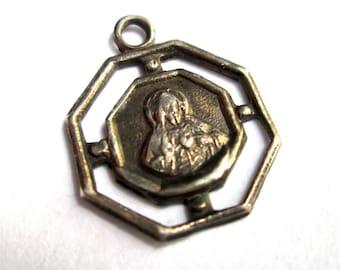VINTAGE OCTAGONAL STERLING silver stg medal charm pendant christian catholic