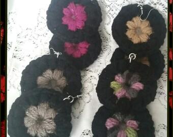 Crochet flower circle earrings