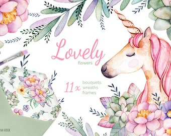 Lovely Flowers & Unicorn. Bouquets,frames,wreaths