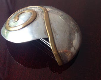 Sterling Silver and Bronze SNAIL SHELL convertible pendent BROOCH