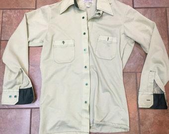Vintage 1970's Arrow Doubler Doubler Green Fly Collar Shirt