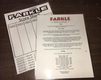 Farkle Laminated Score Sheet