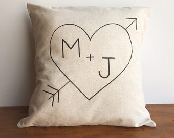 Monogrammed pillow cover, heart carved initials pillow case, housewarming or wedding gift