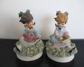 2 x Girl Figurines / Ornaments - Porcelain - Unglazed Bisque - 15.5cm High