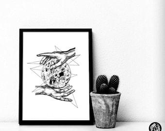 LUNA - Art Print - Moon Design Hands Anatomy Illustration - Dotwork Linework - Dark Art - Tattoo - Blackwork