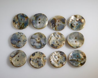 Abalone Buttons, RARE Set of 12 Mother of Pearl 2 Hole 25mm Collectible Antiques for High Quality Jewelry Crafts Clothing Artisans & Sewing