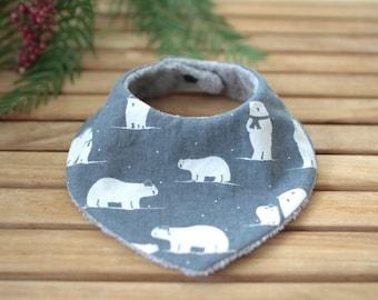 Babero bandana | Gris oscuro con osos polares