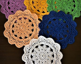 Coffee Table Doily - Drink Coasters - Centerpiece Doily - Table mat-  Kitchen accessory - Rustic decor - Crochet lace - 6 items - Napkins.