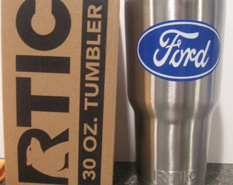 New 30oz Rtic Tumbler with lid and a two colored ford decal / sticker