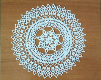 New 9.4'' white handmade crochet doily, lace doily, table mat, tapete artesanal ganchillo encaje,  table decoration