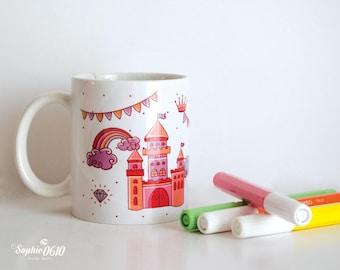 Baby mug, kids mug, castle mug, hot air balloon mug, milk mug, chocolate cup, nursery illustrated mug, funny mug, gift mug, birthday mug