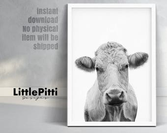 Nursery Farm Animal, cow print, cow photo, black white cow, nursery animal print, rustic farm print, cow photography, farmhouse printable