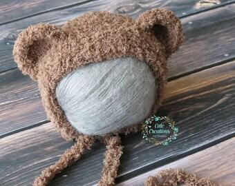 Newborn Bear Bonnet/Newborn Bear Hat/Newborn Bear Prop/Newborn Bear Photo Prop/Baby Bear Bonnet/Baby Bear Hat