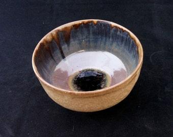 Tea cup. Chawan bowl with ash and tenmoku glazes. Handmade ceramics bowl. Contemporany ceramics. Wabi sabi