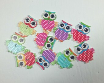 Owl Buttons Wood Kawaii Cute Owl Bird Buttons