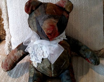 Fully Lined, Forest Green, Burnt Orange with Tulle and Bridal Lace, Homemade Bear, Decorator Bear
