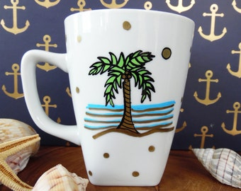 Palm Tree Mug, Hand Painted Mug, Decorated Mug, Beachy Mug, Hand Painted  Mug, Decorated Mug, Beach themed mug, mug gift, beach lover gift
