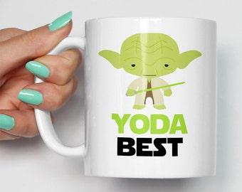 Yoda Best Mug | Gift For Him or Her | Birthday Valentines Christmas | Star Wars Movie Themed Fan Art Mugs | Jedi Master