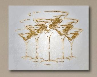 Martini Gold Glitter Canvas Print