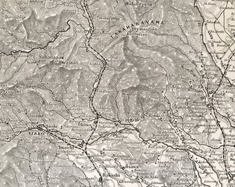 JAPAN.North of Hondo.Old map 1915's.-Old print.Black and white. 11,81 ins x 9,45 ins.Vintage Map.Vintage Print