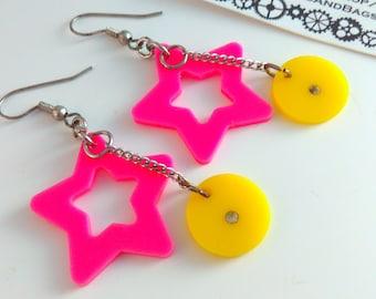 1980s 6.5cm drop pink earrings, Vintage, earrings, 1980s, pink star earrings, vintage earrings, pink drop earrings, star earrings, yellow