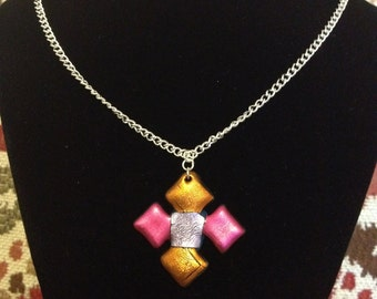 Shiny iridescent metallic colourful Friendly Plastic necklace, orange & pink diamond
