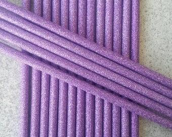 12 Lilac purple glitter cake pop sticks, party supplies, cake pop, lollipop sticks, cake pop supplies, treats, birthdays, tea party