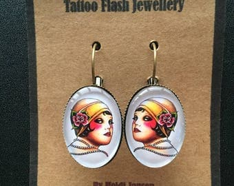 Original tattoo design oval earrings Cheeky Flappergirl cabochon glass