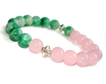 Greenstone green jade bracelet rose quartz bracelet inspirational jewelry Pink green womens gift for her gifts for sister in law bracelet